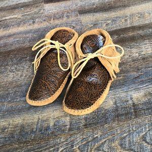 Shoes - Brand new tooled leather fringe moccasins